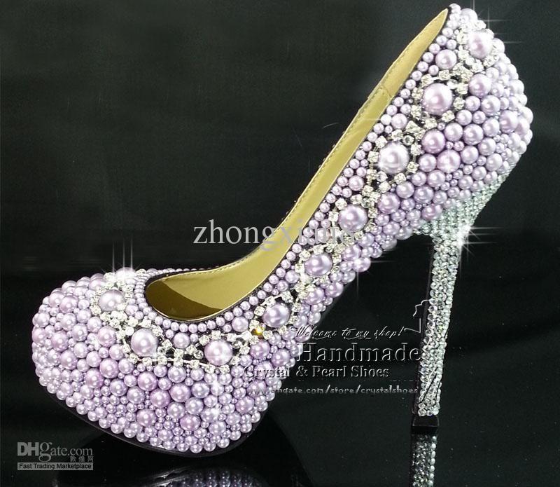 Women High Heels Wedding Purple Pearl And Swarovski Crystal Tennis Shoes Free Shipping