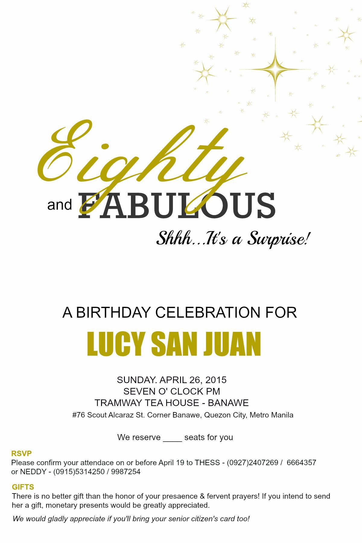 Glossy invitation for Lola\'s 80th Surprise Birthday | Invitations ...