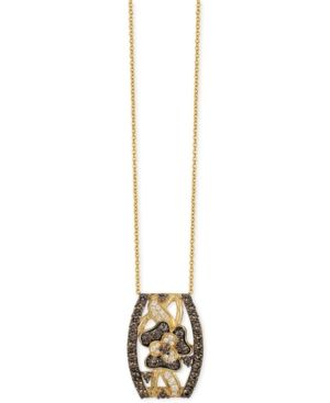 Le Vian Chocolatier Chocolate and White Diamond Pendant Necklace (1-1/4 ct. t.w.) in 14k Gold  - Yellow