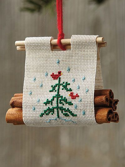 Photo of Christmas Log Carrier Ornament Cross Stitch Pattern