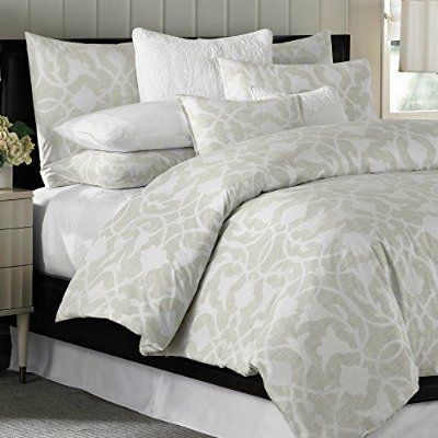 Barbara Barry Poetical 108 Luxury Cotton Duvet Cover Natural Arabesque Paisley Scroll Queen Comforter Sets Beautiful Bedding Duvet Covers