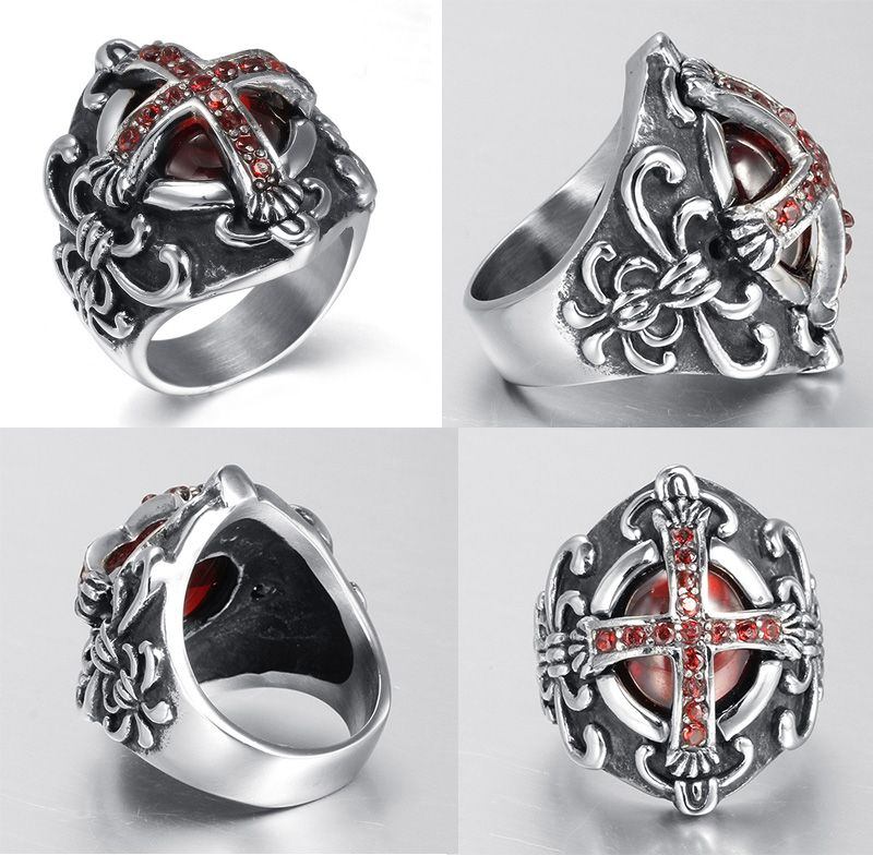 New Design Woman Restoring Ancient Gothic Vampire Cross Ruby Ring Inlay Red CZ Diamond Rings Punk