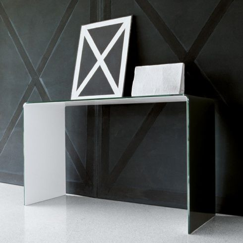 Modern Bent Glass Console Table Black And White
