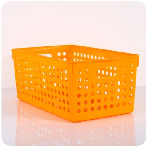 [$1.13] Hollow Plastic Storage Box (Colour: Orange,Size L)