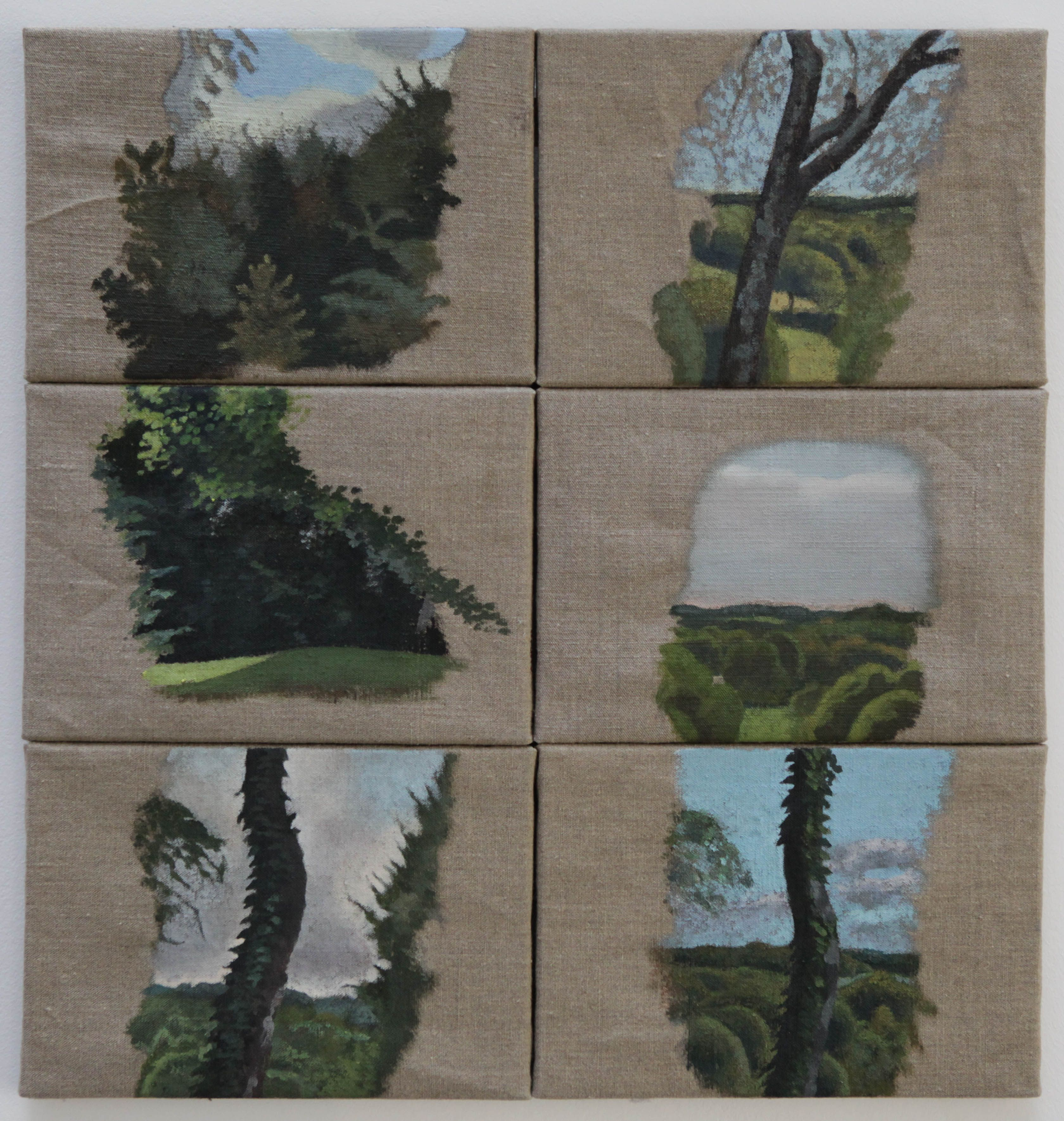 Paysage 2000 se rapportant à henri cueco,paysages au pouget, série petite peinture, 2000