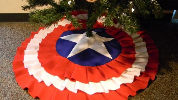Create Your Own Captain America Tree Skirt Diy Christmas Tree Skirt Geek Christmas Fun Christmas Decorations