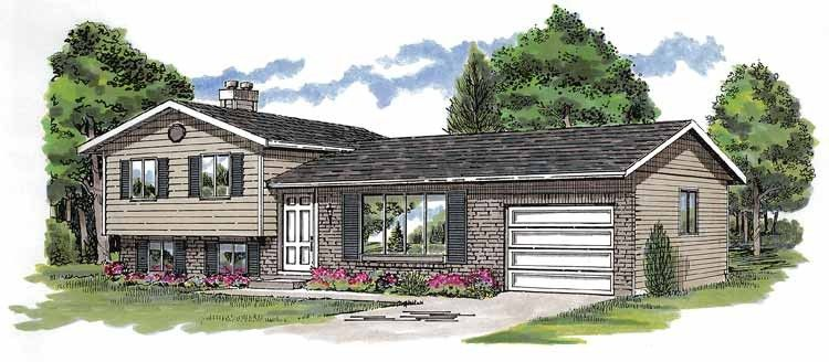 Contemporary Style House Plan 3 Beds 1 Baths 1285 Sq Ft Plan 47 662 Split Level House Plans Free House Plans Basement House Plans