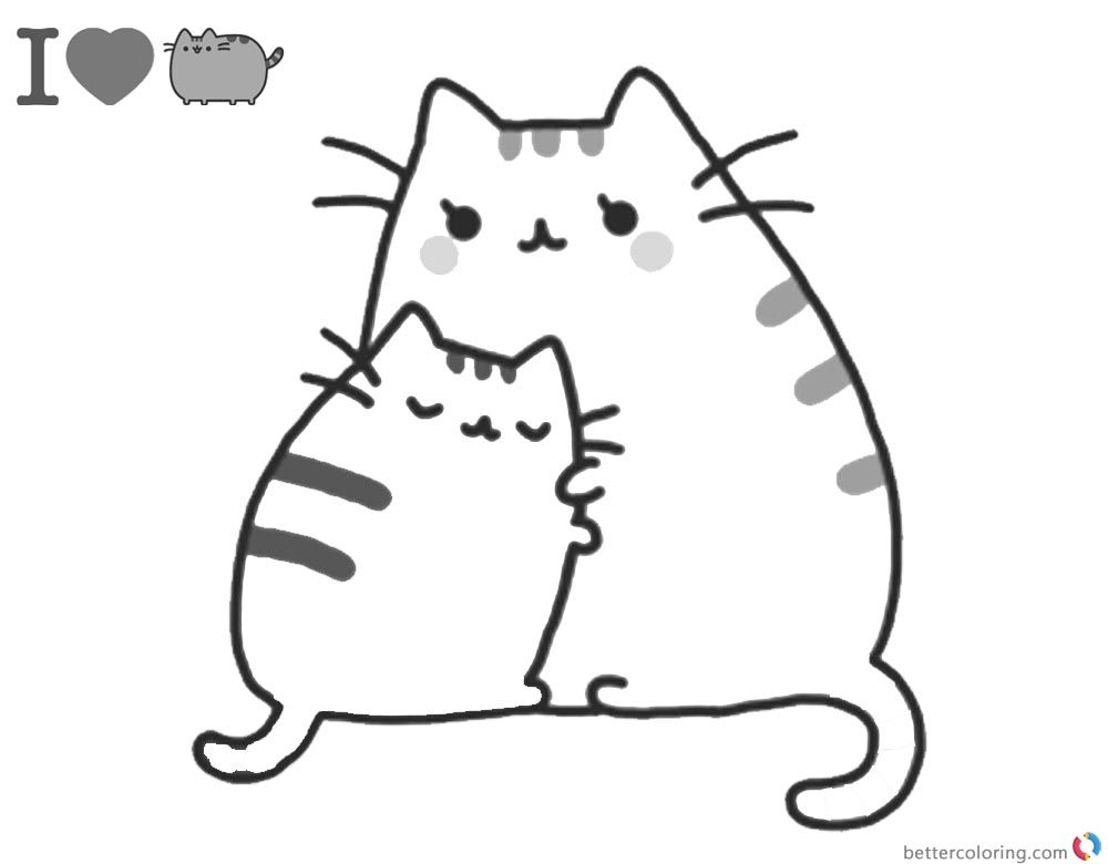 - Pusheen Coloring Pages Mum's Hug Printable And Free Pusheen Coloring Pages,  Cat Coloring Page, Free Kids Coloring Pages