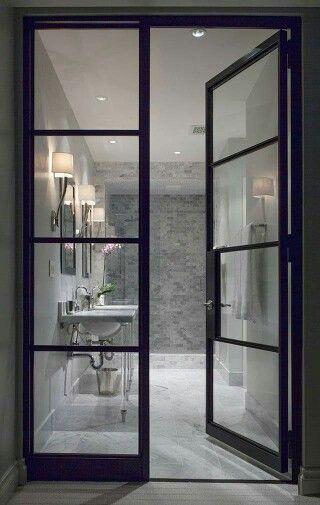 steel glass doors. Steel Glass Doors Into Master Bathroom Gray And Whit Subway Tile- Love The Doors!