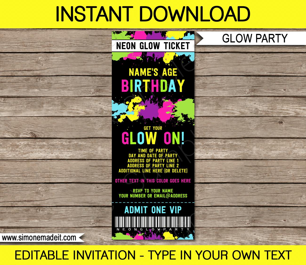 Printable Glow In The Dark Ticket Birthday Invitation Disco Dance - Party invitation template: free email birthday party invitation templates