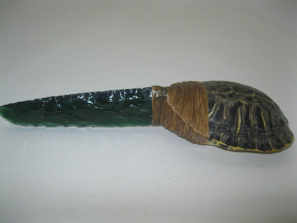 Primitive Knife Turtle Shell Handle Knife With A Green Glass Bladev55d