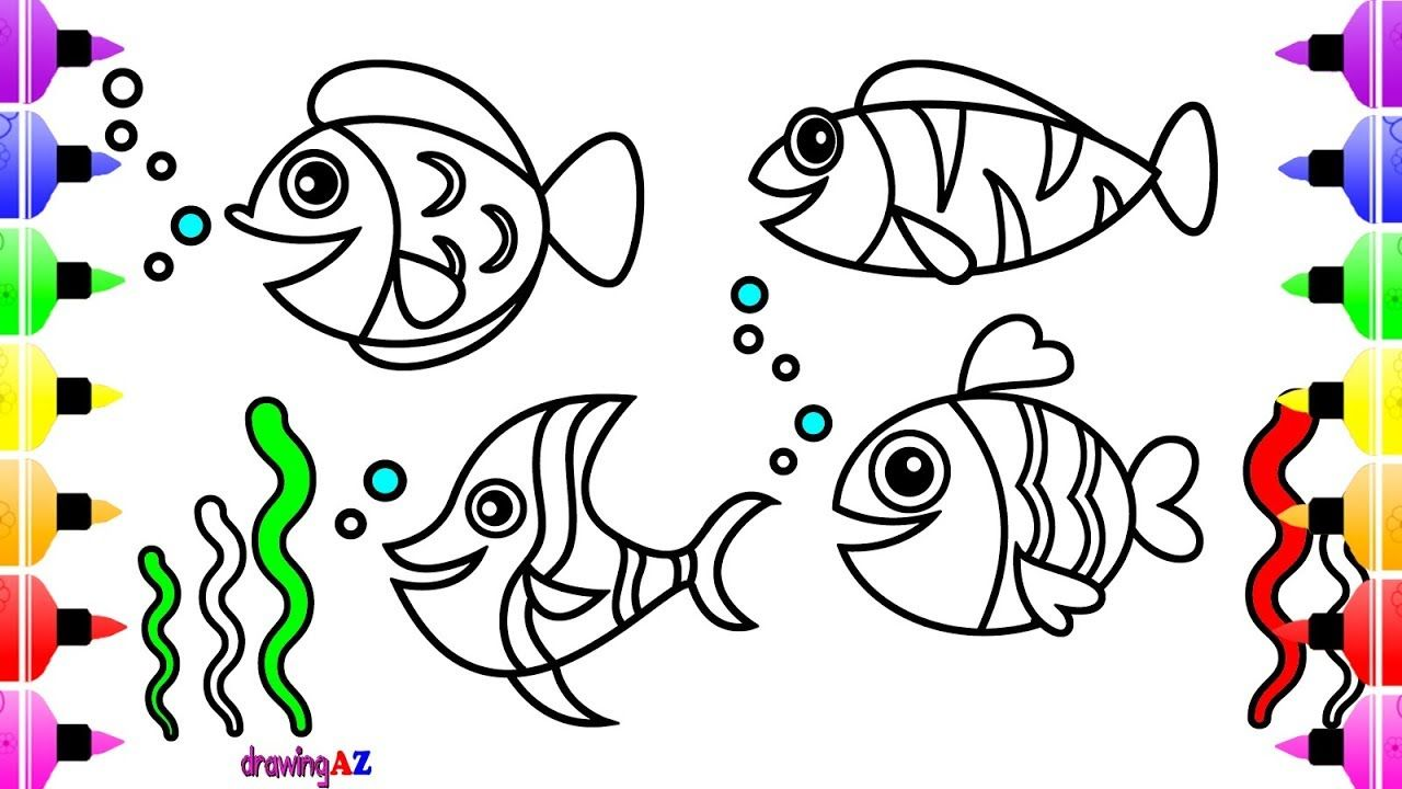 Sea Animals Coloring Pages for Kids & Cute Coloring Book for ...