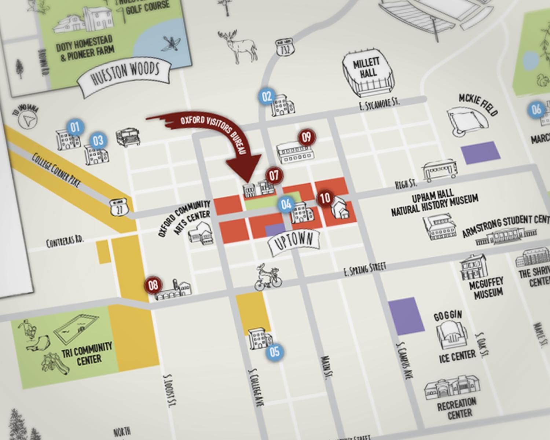 Oxford Map, Oxford Visitors Bureau - Dane Creek Design. #local #community #illustration #map