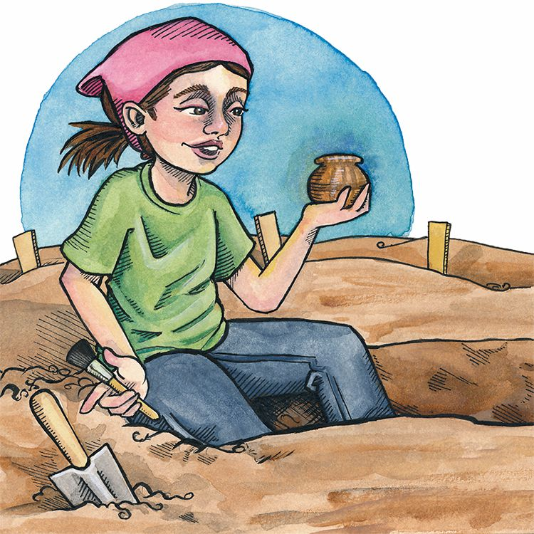 Archaeologist, archaeology, digging, brush, trowel, pottery, illustration, watercolor, ink, watercolour, children's illustration