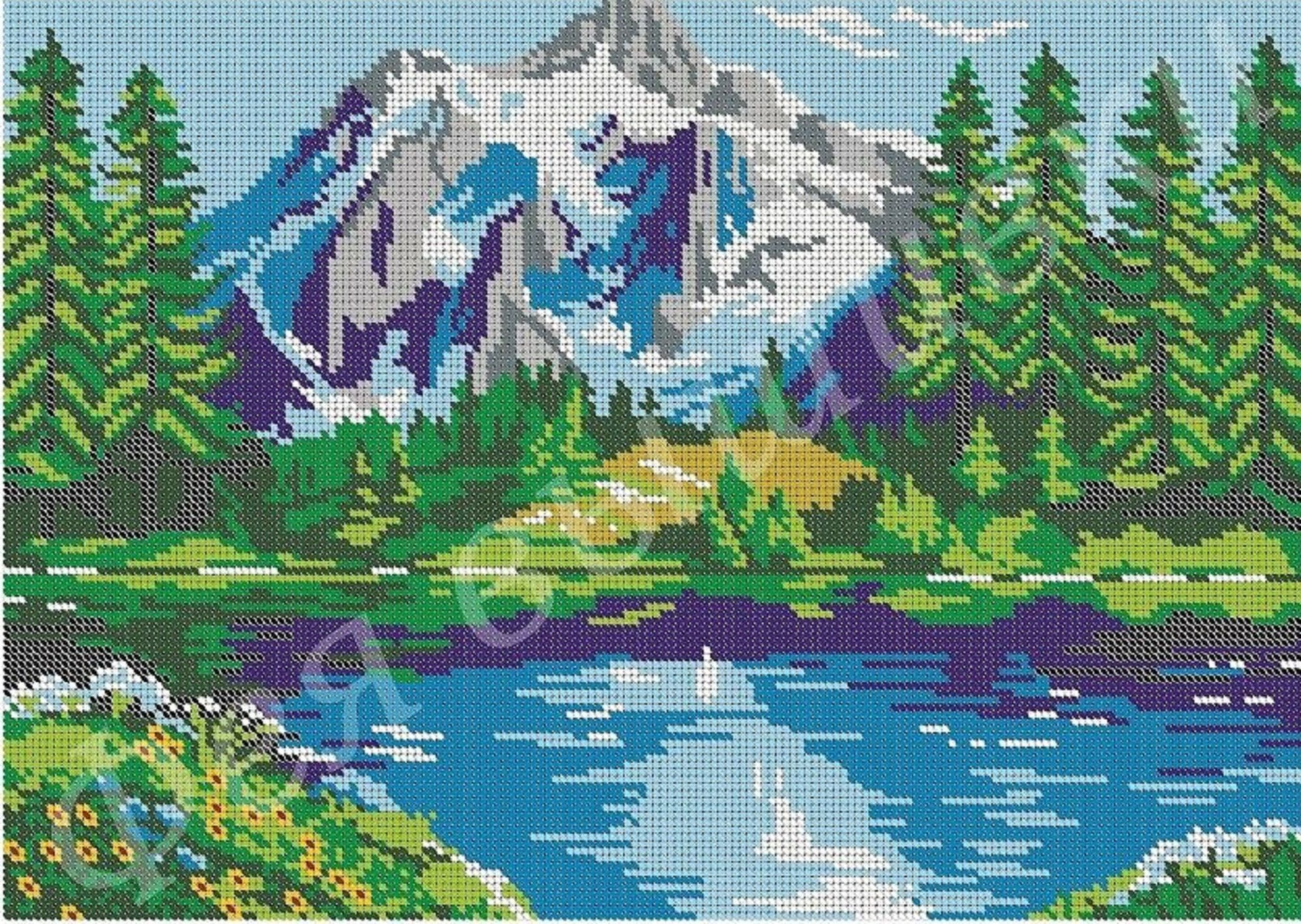 DIY full beaded cross stitch embroidery Bead embroidery kit Mountain River