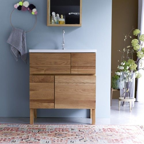 Tikamoon Easy Oak And Ceramic Vanity Cabinet 80