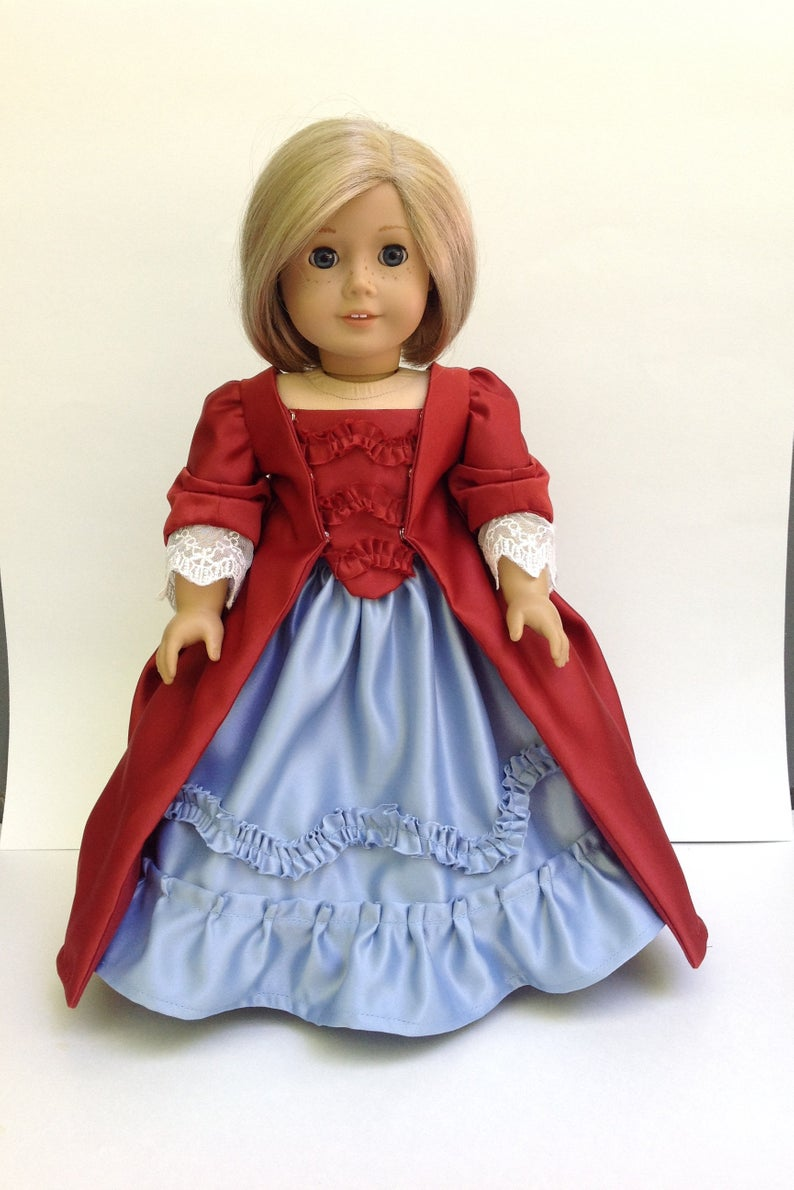 Historical doll dress, saque back gown, fits 18 inch dolls, doll dress, gown and petticoat, 1770s fashion #historicaldollclothes