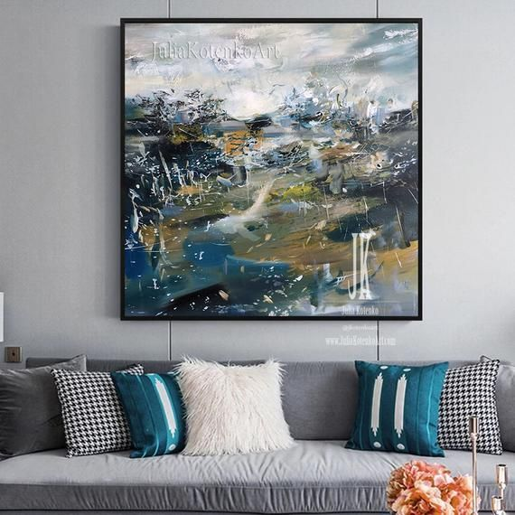 Above bed art,Abstract landscape painting, Teal painting,Wall art canvas landscape,Large canvas art modern,Artwork for home by Julia Kotenko - #above #abstract #canvas #landscape #painting - #TraditionalLandscape