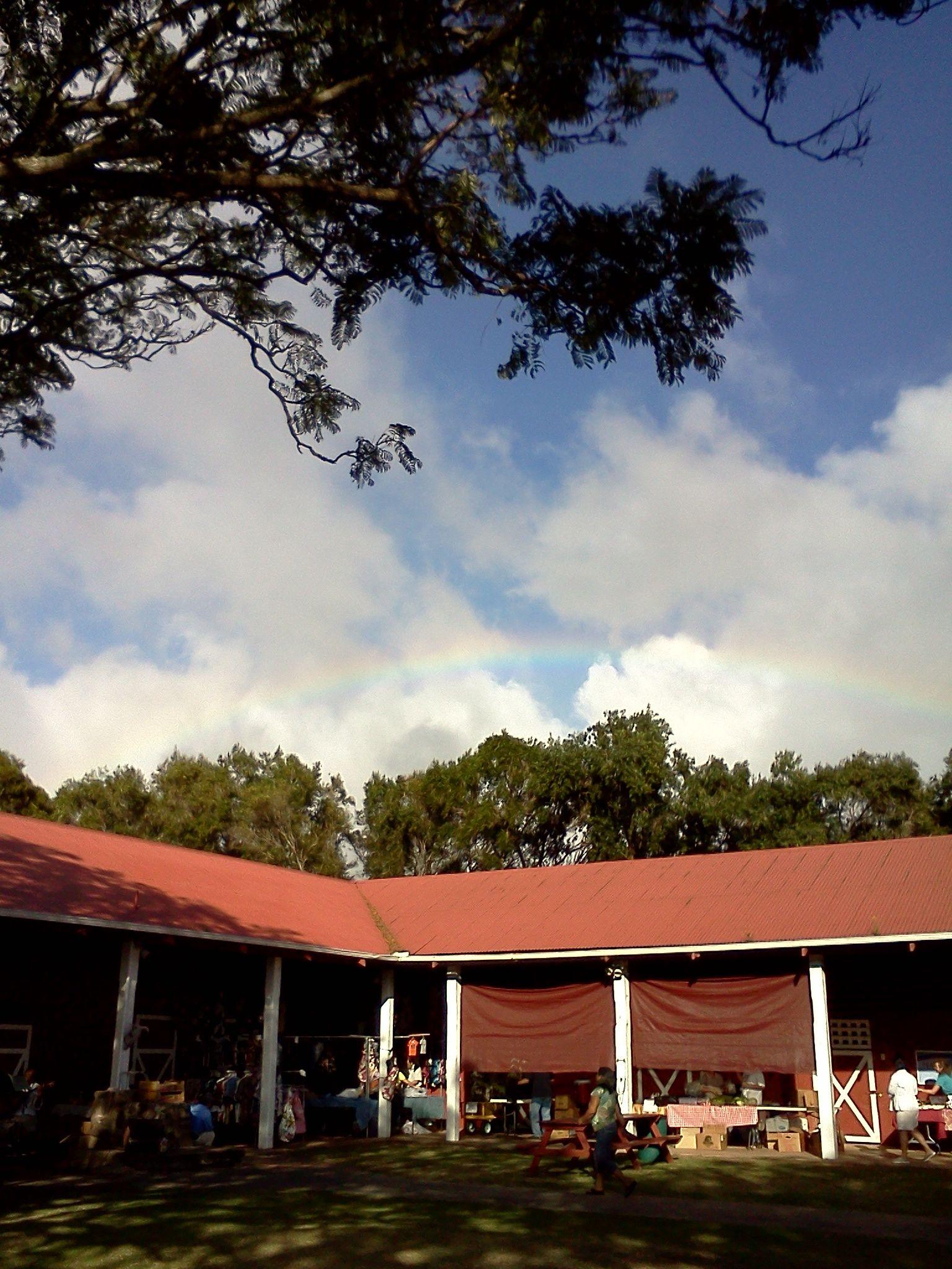 Rainbow over Pukalani Stables farmers market, Kamuela