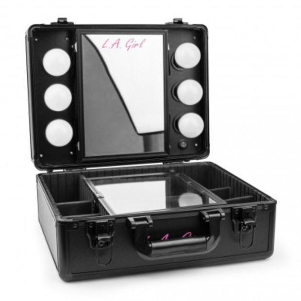 La Girl Pro Studio Cosmetic Makeup Light Up Mirrored Train Case Face Makeup Remover Gentle Eye Makeup Remover Makeup Cosmetics