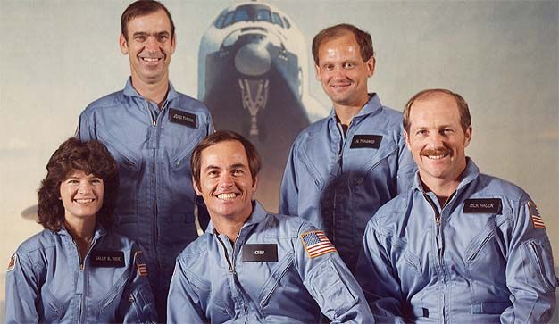 SPACE SHUTTLE CHALLENGER STS-7 CREW 8x10 PHOTO NASA SALLY RIDE