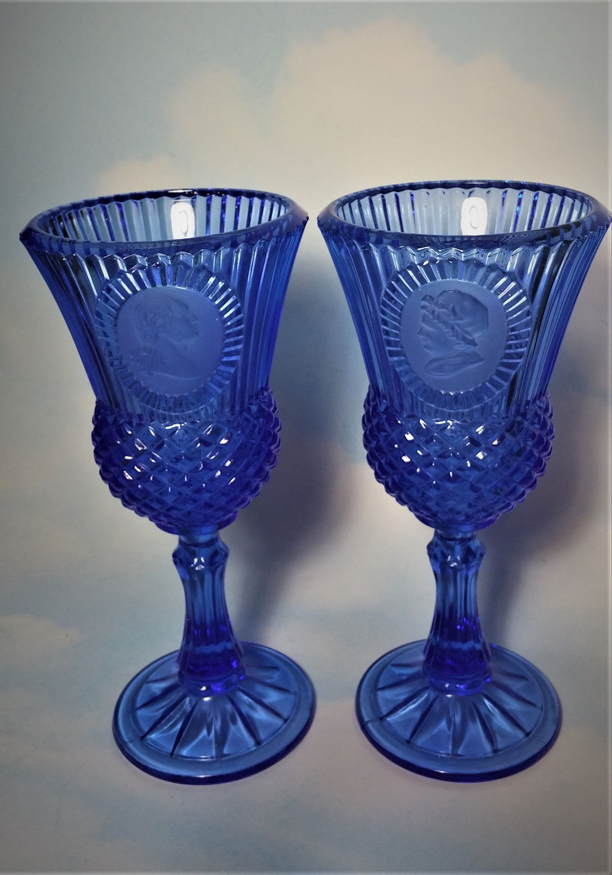 Pair Of Vintage Avon Fostoria Cobalt Blue George And Martha Washington Goblets Candle Holder Thistle Goblet With Cameo