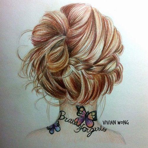 hairstyle, bun, girl, tatoo, neck, drawing