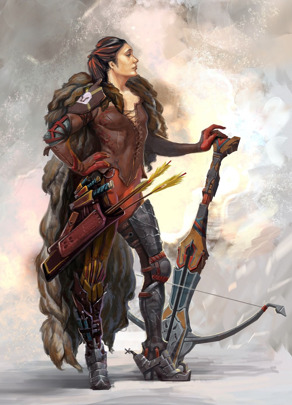 Confident Crossbow Woman Character Art Fantasy Art