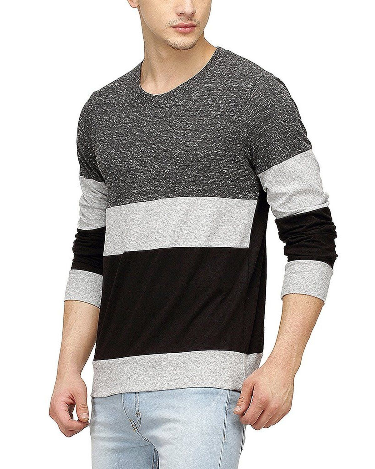 859257d19 Campus Sutra Men Tri Colour Full Sleeve T-Shirt  Amazon.in  Clothing    Accessories