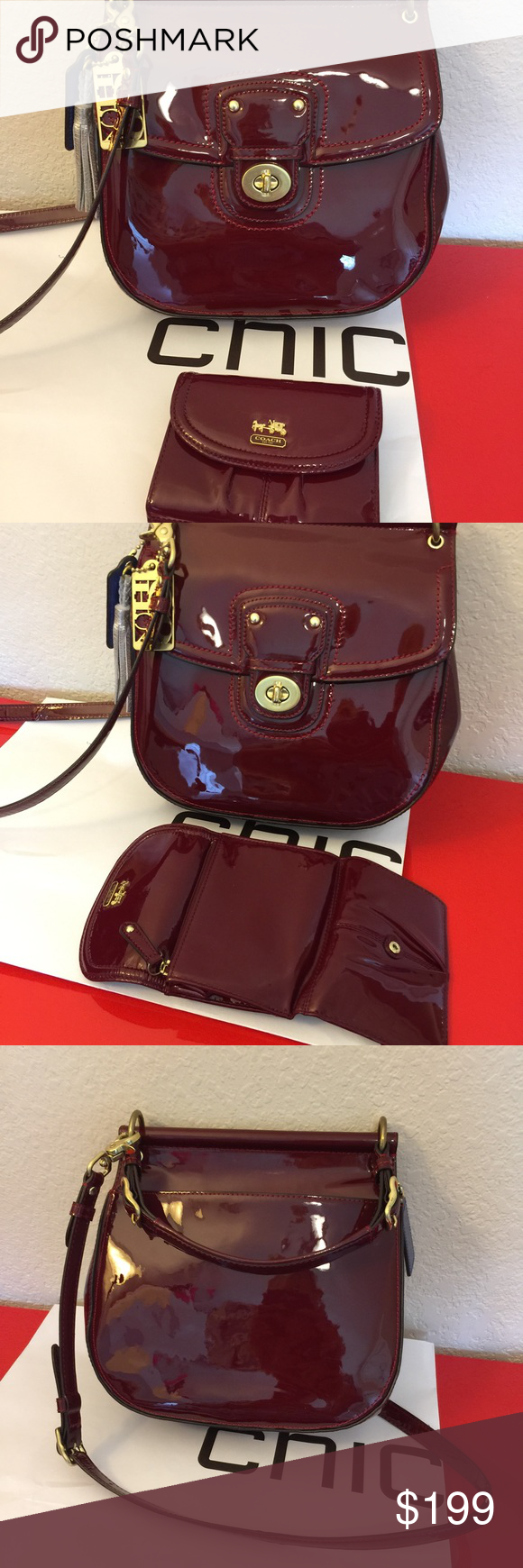 Coach Patent Leather Crimson Willis Bag Excellent Condition 10 X 9 5 3 25 Authentic 21244 Flap With Turn Lock Gold Hardware Legacy Satin