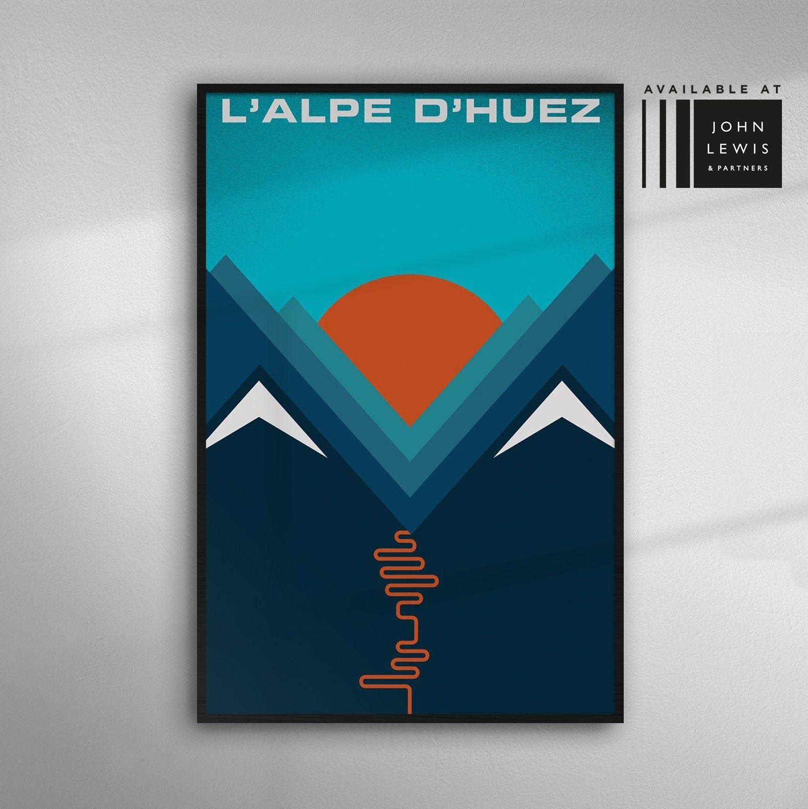 L'Alpe D'huez Art Print Cycling Mountain Tour De France