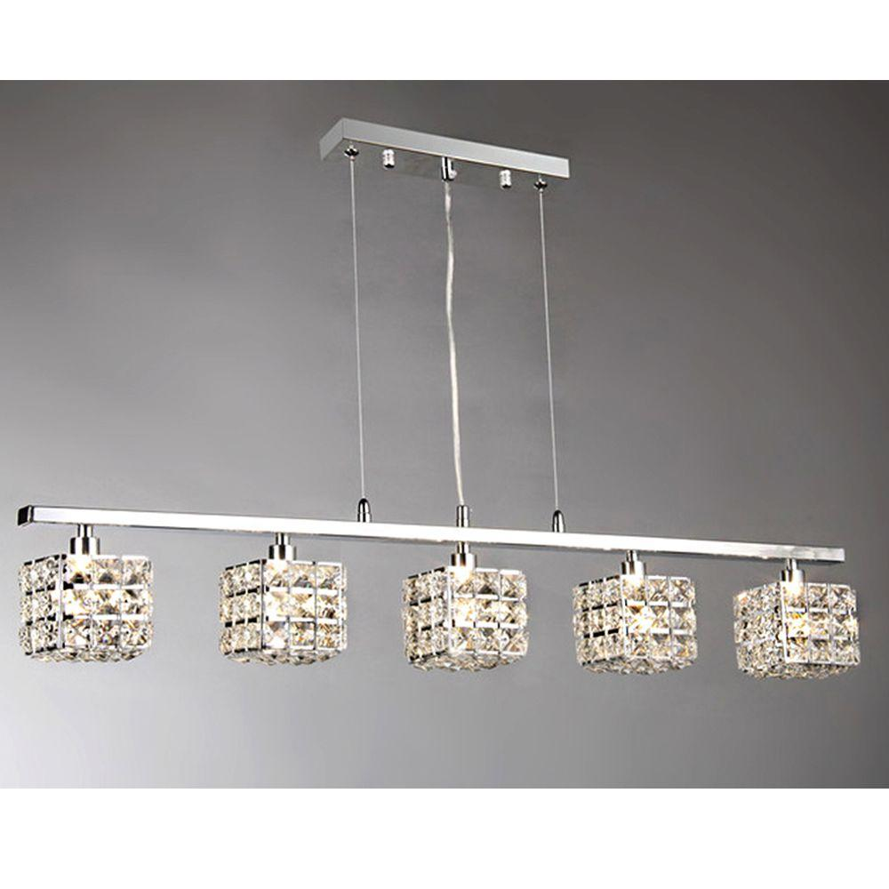 Sandra 5 Light Chrome Indoor Crystal Chandelier With Shade RL8087   The Home  Depot