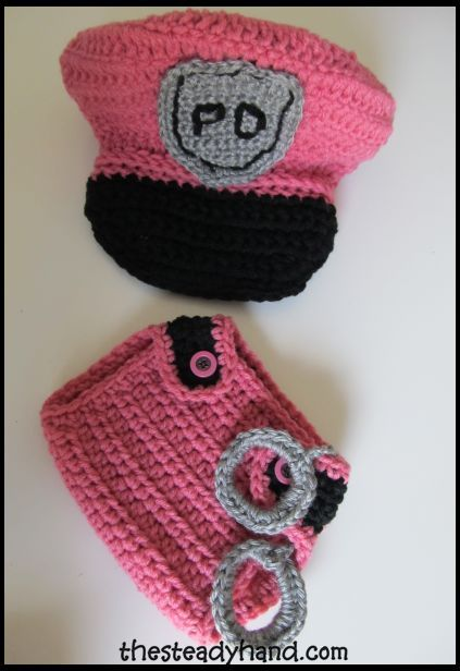 Baby Hats And Diaper Covers Crochet Baby Girl Police Hat And