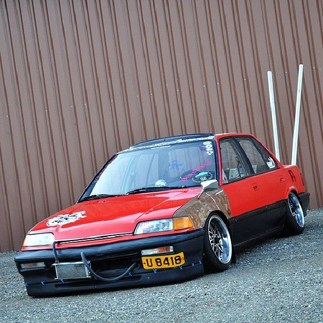 Ef Civic Sedan: Those Exhaust Pipes! #slammed #stanced #fitted #