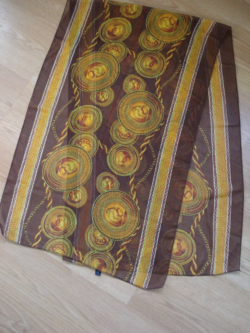 1980s Gold Floral Print Brocade RobeCheongsam by Peony Brand