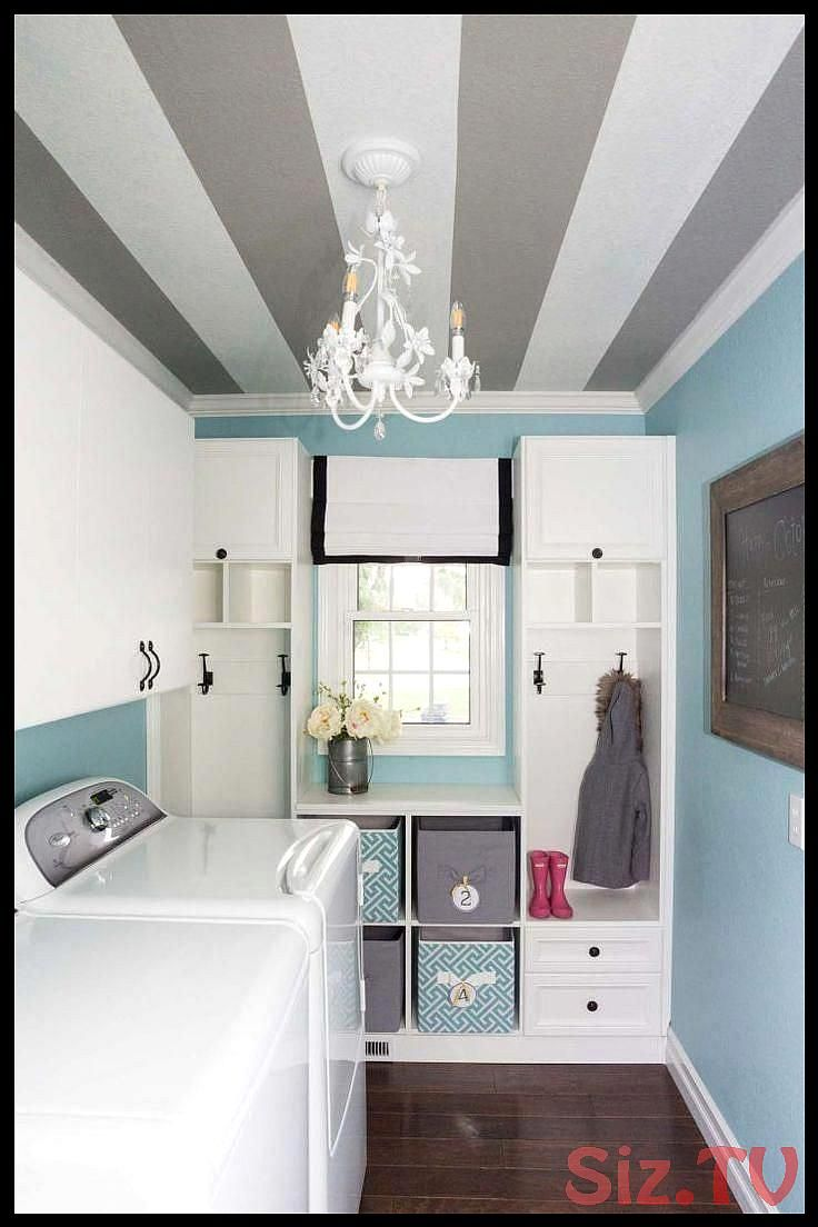How to Paint a Striped Ceiling an unexpected striped ceiling in the laundry room is the perfect pop of surprise in a muchused room that helps makHow to Paint a Striped Ce...