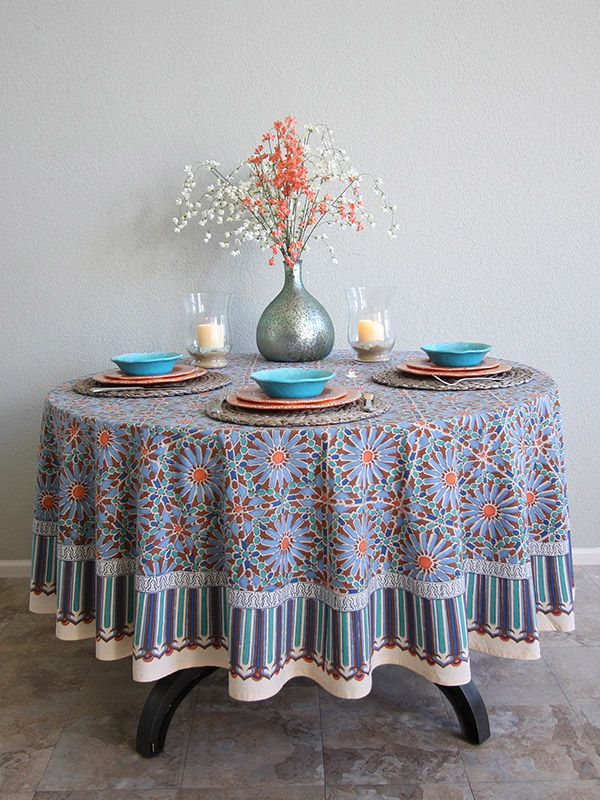 Moroccan Tile Print Blue Round Tablecloth, 70 90 Inch Round, Moroccan  Tablecloth