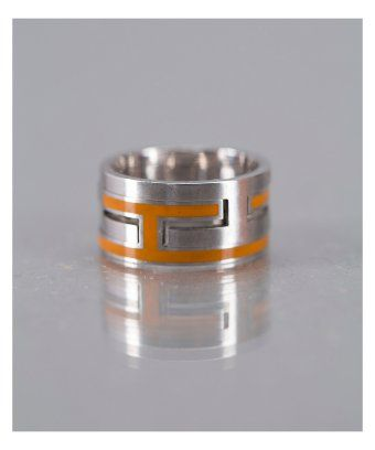 orange and silver Hermes vintage puzzle ring