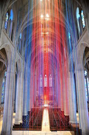 'Graced With Light' art installation has 20 miles of ribbons