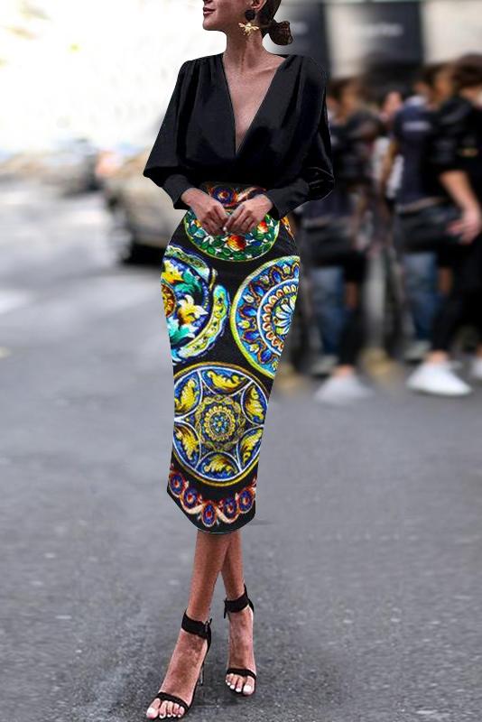 Fashion Business Elegant Slim Floral V Collar Long Sleeve Bodycon Evening Dress #autumnseason