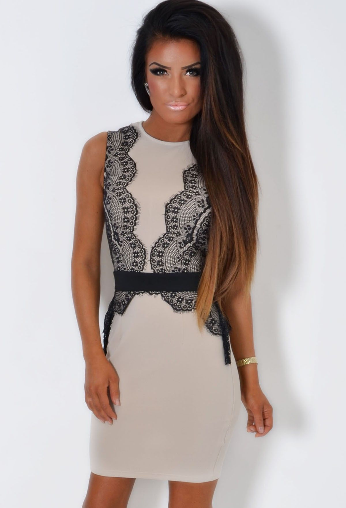 Fitted lace peplum dress black