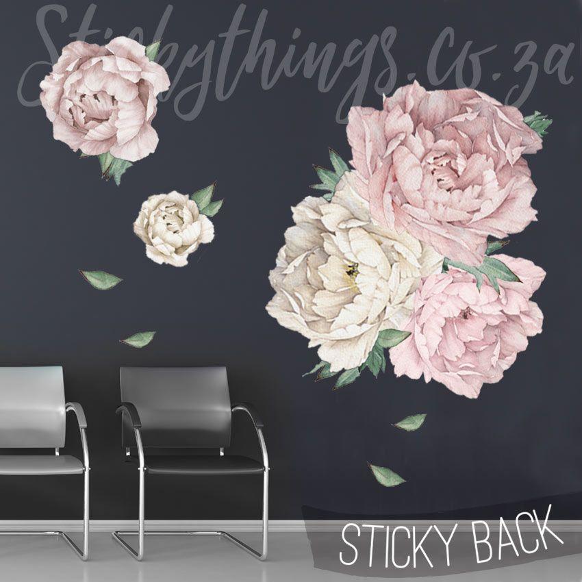 Giant Peony Wall Sticker Peony Flowers Wall Decal Stickythings Co Za Flower Wall Decals Flower Wall Wall Stickers