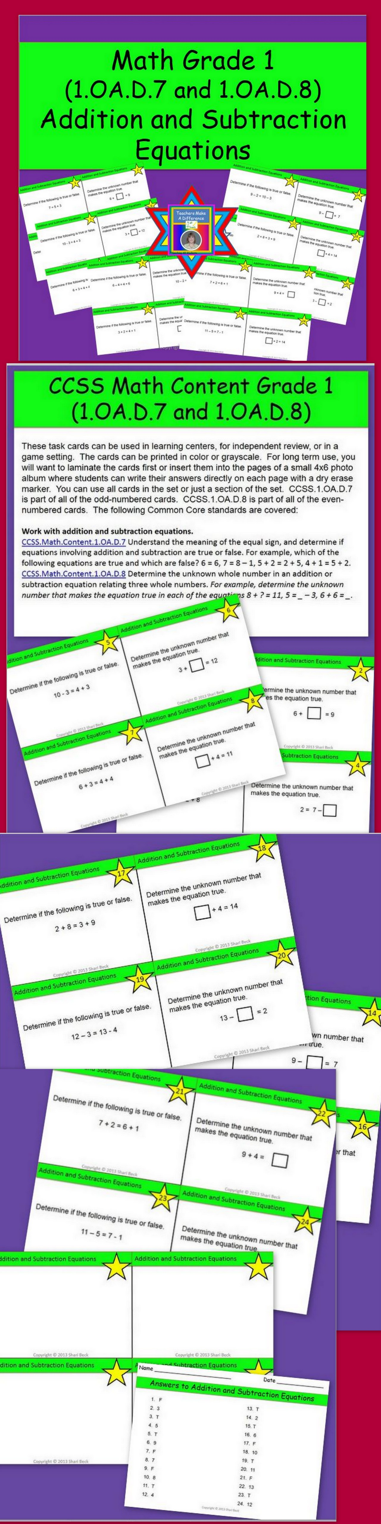 Addition And Subtraction Equations Task Cards Ccss 1 Oa D