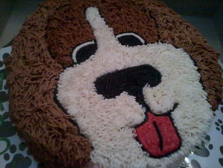 Dog Cake I Used A 10 Inch Round Pan Sculpted The Sides To Shape Ears Fur Was Made UsingWiltons Grass Hair Tip