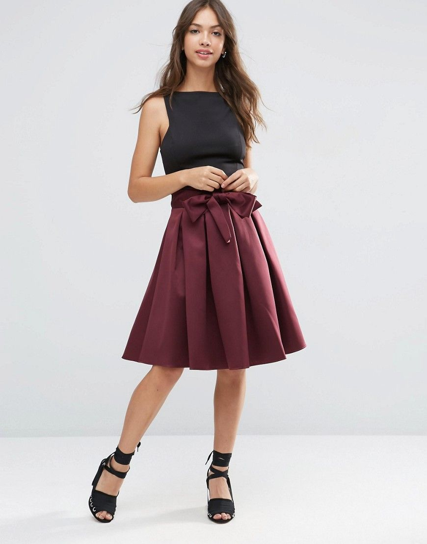 5f6c35d725 ASOS Prom Skirt with Self Belt in Bonded Satin - Red | Dream Closet ...