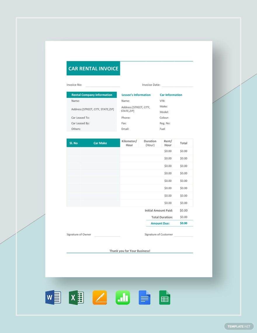 Car Rental Invoice Template Free Pdf Word Excel Apple Pages Google Docs Google Sheets Apple Numbers Invoice Template Invoice Design Template Invoice Design