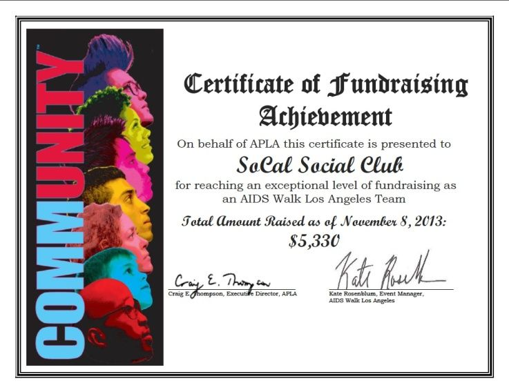 AIDS WALK CERTIFICATE_2013 Our first certificate of fundraising - congratulations certificate