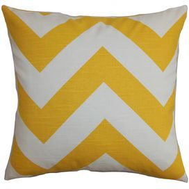 """Made in the USA, this cotton pillow showcases a chic chevron motif and plush down-feather fill.  Product: PillowConstruction Material: Cotton and down-feather fillColor: Yellow and whiteFeatures:  ReversibleInsert includedHidden zipper closure for easy removal and cleaningKnife edge finishMade in the USA Dimensions: 18"""" x 18""""Cleaning and Care: Spot clean recommended"""