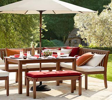 Chatham Rectangular Extending Dining Table Banquette Set Dark Honey Potterybarn