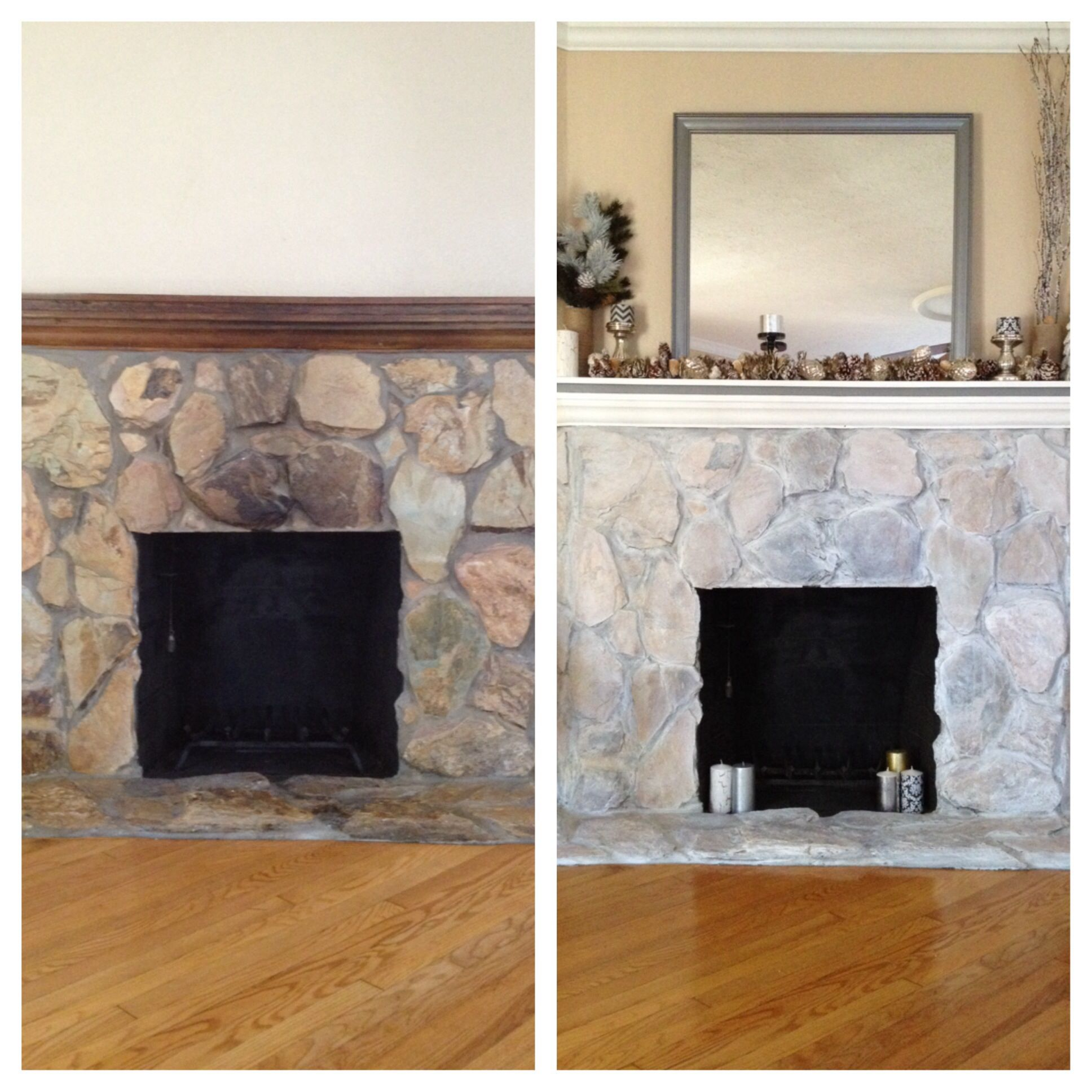 project sample sized paints to white wash stone fireplace and